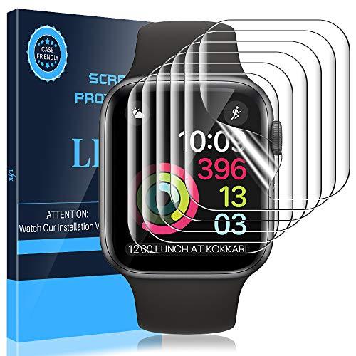 LK 6 Stück Schutzfolie für Apple Watch Series 6/SE/5/4 40mm und Series 3/2/1 38mm Folie,[Modellnummer:LK-X-108] [Kompatibel mit Hülle] [Blasenfreie] Klar HD Weich TPU Displayschutz