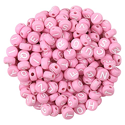 UIKY 100 Pcs Alphabet Beads Jewelry Making Supplies, Adults Handmade Craft Letter Charm Beads for Bracelets Necklace Earring, DIY Round Acrylic Resin Bead Decorative Jewelry Supplies Kit (D4, 100PC)
