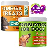 Pawfectchow Fish Oil Omega 3 + Probiotics Bundle - Allergy Relief Skin and Coat Supplement + Digestive Health Probiotics - Itch and Hot Spots Relief + Immunity Support