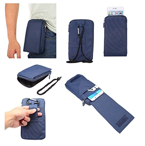 DFV mobile - Multi-Functional Universal Vertical Stripes Pouch Bag Case Zipper Closing Carabiner for Planet Computers Gemini PDA (2017) - Blue XXM (18 x 10 cm)