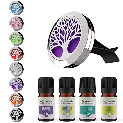 Wild Essentials Tree of Life Aromatherapy Car Vent Air Freshener Essential Oil Diffuser Gift Set With Vent Clip 8 Refill Pads, 4 Made in USA Pure Essential Oils (Lavender, Peppermint, Calm, Zen) Stainless Steel Pendant