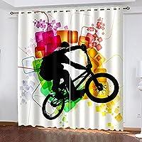 WJYMJJ 遮光カーテン子供部屋女の子男の子 カラー自転車 2 x 幅100 x 丈178 cm 不透明3D のパターン ブラックアウトカーテン 小さな穴リビングベッドルームサーマル 寝室用 リビング用