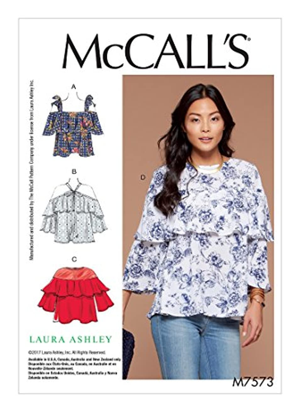 MCCALLS M7573 Misses' Ruffle Tops with Off-the-Shoulder and Tie Options (SIZE 6-14) SEWING PATTERN