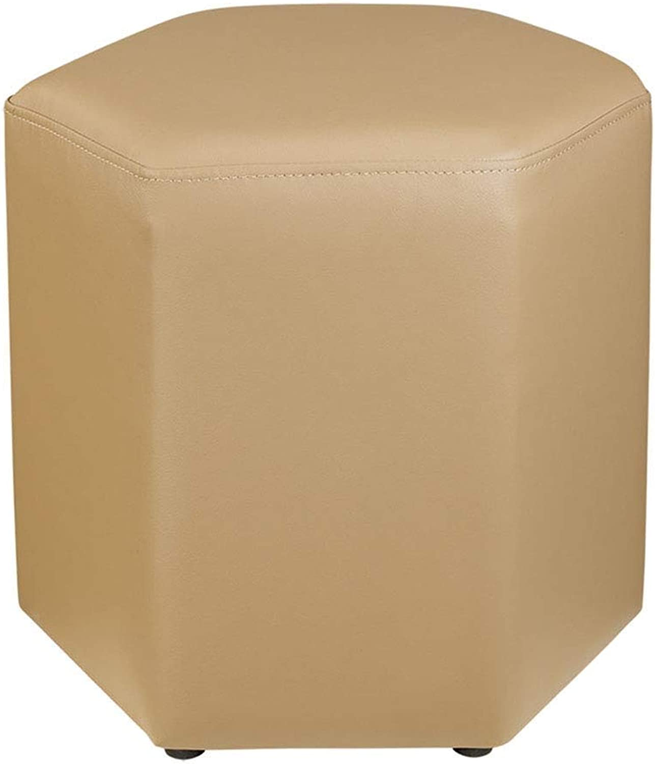 Modern Minimalist Creative Hexagonal PU Leather Sofa Stool for shoes Stool FENPING (color   Beige)