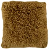 Snugrugs Kissenbezug mit Innenkissen, mongolisches, langes, gelocktes Schafsfell, Schafsfell, senffarben, 40 x 40 cm