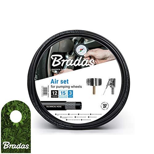 Druckluft Reifenfüllschlauch Set 18m mit Kupplungen Reifenfüller Kfz mit Zubehör Bradas 5442