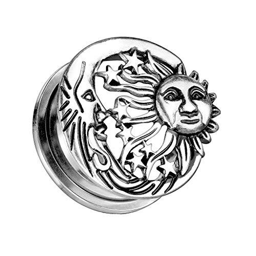 beyoutifulthings Ohr-Plug Sonne MOND Sterne Ohr-Piercing Ohr-Schmuck Chirurgenstahl Screw Flesh Tunnel Schraub-Verschluss Antik-Silber 8mm