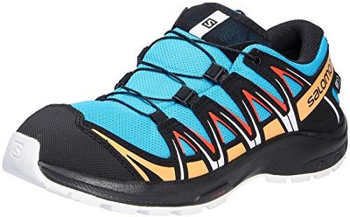 Salomon Kinder XA PRO 3D, Schuhe für Trail Running und Outdoor-Aktivitäten, ClimaSalomon Waterproof Blau/Schwarz (Hawaiian Ocean/Cherry Tomato/Warm Apricot), 32 EU