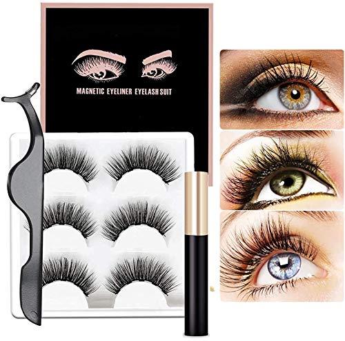 Faux Cils Magnétique Magnetic Eyeliner Kit Magnétiques 3D Naturel Réutilisables sans Colle, Magnetic Eyelashes Ensemble de Cils magnétiques Imperméable Ultra-mince