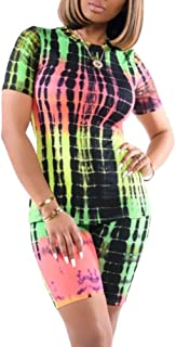 Women 2 Piece Outfits Tracksuit Tie Dye Print Short Sleeve Top Bodycon Shorts Set