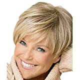 Upgrade Western Inclined Bang Short Straight Wigs - 2019 New Stylish Sexy Women ladies Mix Blonde Natural Full Hair Wigs