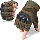WTACTFUL Tactical Gloves Military Fingerless Half Finger Gloves for Army Gear Driving Paintball Airsoft Riding Motorcycle Motorbike Hunting Military Cycling Work Men Women Size X-Large Green