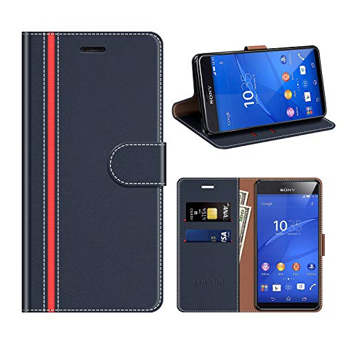 COODIO Sony Xperia Z3 Compact Hülle Leder, Sony Xperia Z3 Compact Kapphülle Tasche Leder Flip Cover Schutzhülle Rugged für Sony Xperia Z3 Compact Handyhülle, Dunkel Blau/Rot