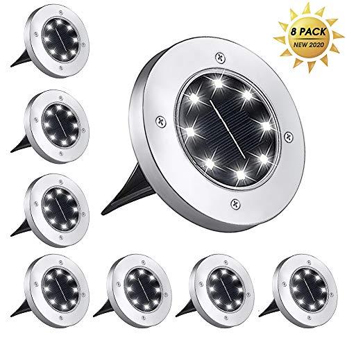 BeIM Solar Bodenleuchten 8er Set 8 LEDs Solarleuchten Gartenleuchten mit Erdspieß Kaltweiß Solarlicht IP65 Wasserdicht für Garten, Auffahrt, Außen
