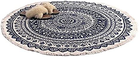 FANHUA Round Carpet Bedroom Tassel Cotton Rug Hand-Woven Ethnic Classic Tapestry Sofa Cushion Tatami Floor mat Color : As Shown