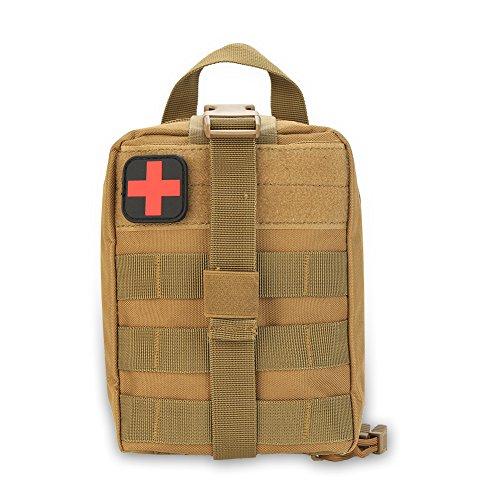 Bolsa de emergencia de supervivencia con bolsa médica de parche de primeros auxilios para escalada al aire libre, senderismo(Caqui)