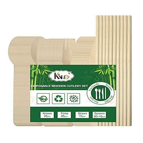 Set di Posate Usa e Getta, Posate in Legno e Cannucce, Forniture di Bambù Biodegradabili per Feste, Picnic per le Vacanze