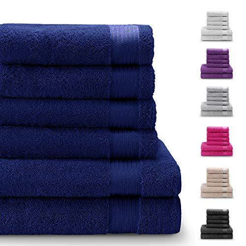 Chemicaliënvrije, 100% Katoenen Handdoekensets (6 stuks, donkerblauw) - 4 Handdoeken (50x80cm) en 2 Badlakens (140x70cm) - Superzacht en Absorberend - Machinewasbaar - Badkamer, Zwembad