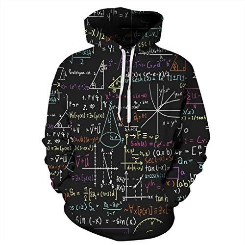 XIOUOUSD Unisex lustige Physik Formel Mathe 3D Hoodies Sweatshirts Langarm Black XXL