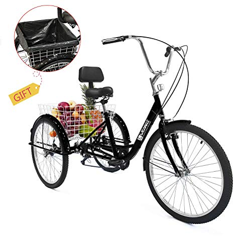 Purchase Weanas 7 Speed 24/26 Inch Adult Tricycle Trike Cruiser Bike Three-Wheeled Bicycle Men's Wom...
