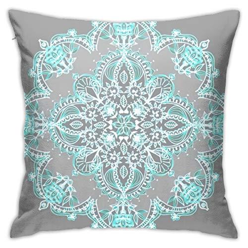 Antvinoler - Funda de almohada con diseño de mandala en color verde azulado y azul turquesa con estampado de mandala en gris, funda de almohada cuadrada de 45 cm y 45 cm