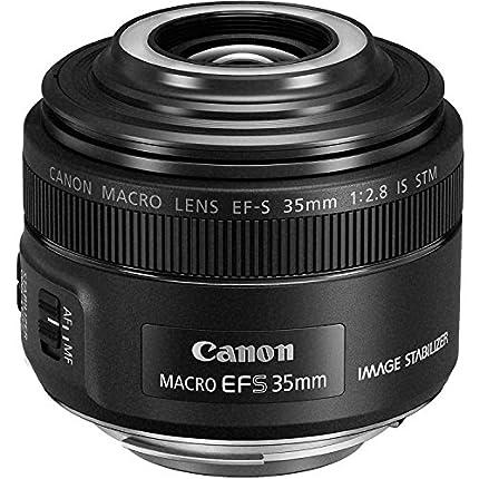 Canon EF-S 35 mm f/2.8 Macro IS STM - Objetivo para cámaras (Flash Macro Lite, LED Integrado, Aumento 1x), Color Negro
