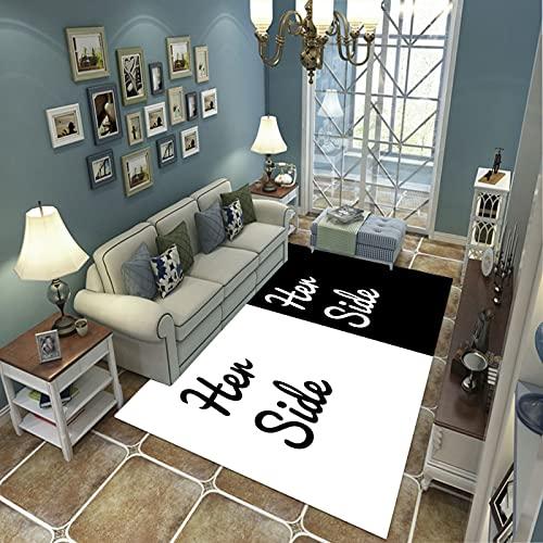 PHhomedecor Alfombra Suave, Moderno Estilo Decoración Alfombras, Niños Gateando Manta, Arte De Impresión 3D En Blanco Y Negro, 60(H) X100(W) Cm Moqueta para Dormitorio Y Salón O Habitación Infantil