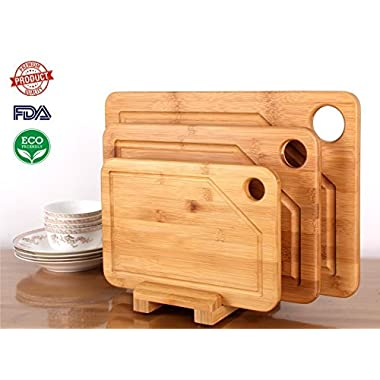Mohy Bamboo Products Premium Bamboo Cutting Board - 3 Set (Large, Medium and Small with the Holder)