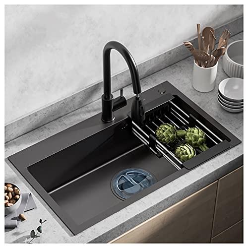 YHshop Fregadero de la Cocina Fregadero Negro de la Cocina de Nano para Cocina de Lujo, Fregadero de Acero Inoxidable, Grifo, colador Grande y colador (27 x 18 x 8 Pulgadas) Hundir (Size : B2)