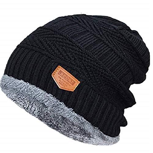HUNTSMANS ERA Soft Windproof Woolen Winter Cap for Men and Women/Woolen caps (BLACK1)