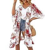 Kimono largo floral o estampado, de gasa, para playa, diseño boho, parte delantera abierta, holgada, blusa verano para mujer Whitec. L