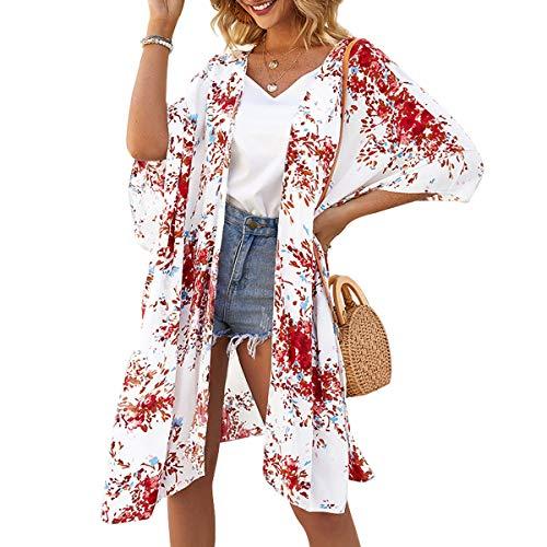 ECOMBOS Damen Lange Florale Kimono Cardigan - Strand Chiffon Kimono Cardigan Sommer Bluse Tops Beachwear Bikini Cover up Leichte Boho Strand Jacke (Rot, M)