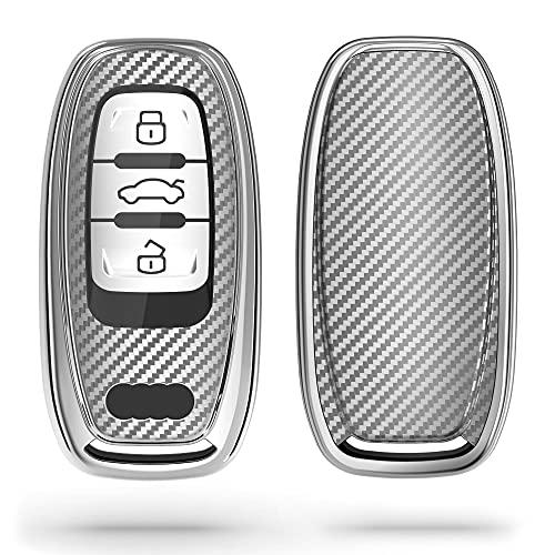 kwmobile Funda Compatible con Audi - Carcasa para Llave del Coche Audi Llave de Coche Keyless de 3 Botones - diseño Carbono