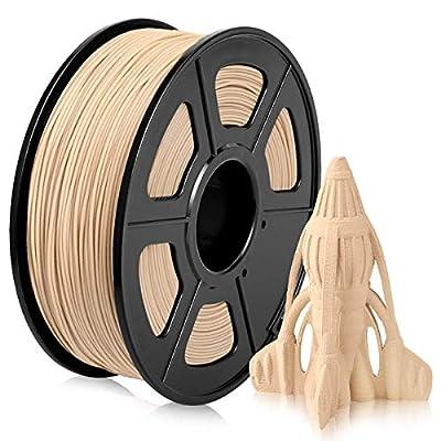 Wood PLA 3D Printer Filament 1.75mm, Low Temp PLA Wood Texture Filament, 20% Wood Fiber Filled PLA Wood Filament 1KG (2.2 lb)