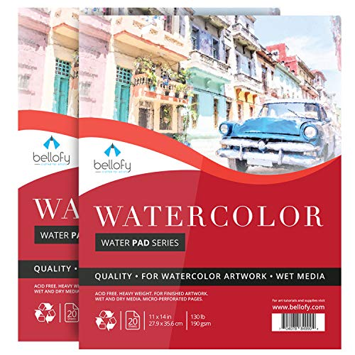 Bellofy Watercolor Paper Pad - 11x14 in - Watercolor Sketchbook Journal with Cold Press Finish - 130 IB 190 GSM - Large Watercolor Paper for Kids & Artists - Art Painting Paper for Wet Media