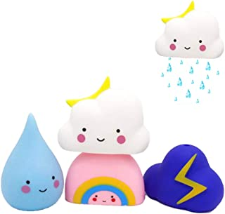 DEMEDO Soft Watering Bath Toys for Toddlers, Swimming Pool Toys Gift Set, Baby Hair Wash Tool, Pack of 4 (Rain, Cloud, Rainbow, Thunder Cloud)