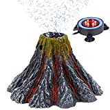 Uniclife Aquarium Decorations Volcano Ornament with Red LED Light Air Bubbler Stone Kit - Air Pump Not Included