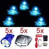 cciyu Cab Marker Light 5x Ice Blue T10-4-3528-SMD Top Clearance Roof Running Bulbs with 5x Smoke Cab Roof Light Lens + 1 set Wiring Pack Replacement Assembly for for Ford Super duty pickup truck