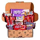 Caja regalo de bombones y chocolates - Nutella, Happy HIppo, Kit Kat, Milka, Snickers. Regalo original para cumpleaños, navidad y San Valentín