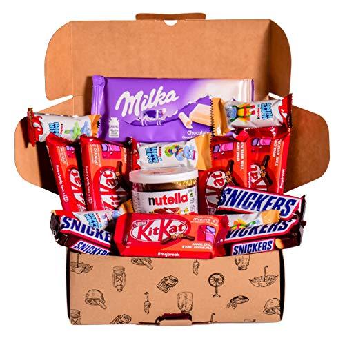 Caja regalo de bombones y chocolates - Nutella, Happy HIppo, Kit Kat, Milka, Snickers. Regalo...