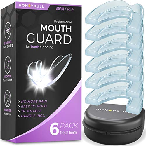 HONEYBULL Mouth Guard for Grinding Teeth [6 Pack] 1 Size for Heavy Grinding | Comfortable Custom Mold for Clenching at Night, Bruxism, Whitening Tray & Guard