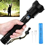 RechargeableTactical Flashlight 90000 Lumen with Battery,Most Powerful Water Resistant Camping Flashlight,Super Bright Portable Outdoor Torch Light Zoomable Flashlight with Power Display