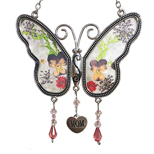 Mom Butterfly Suncatchers Glass Mother Wind Chime with Pressed Flower Wings Embedded in Glass with Metal Trim Mom Heart Charm  Gifts for Mom Mom for Birthdays Christmas Mom