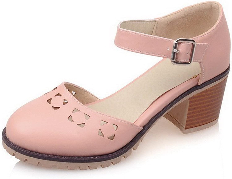 WeiPoot Women's Buckle Closed Toe Kitten-Heels PU Solid Sandals