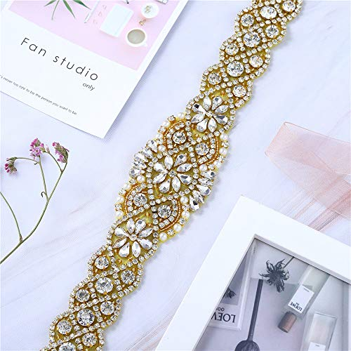 Gold Rhinestone Beaded Wedding Dress Applique Sparkly for Bridal Ribbon Belt Iron on Crystal Thin Jeweled Sash Applique for Women Formal Prom Evening Bridesmaid Gown