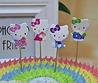 24x Cupcake Topper Picks –hello kitty Themed Cupcake Toppers For Kids Party