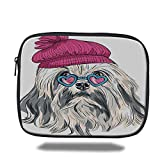 DHNKW Tablet Bag for Ipad air 2/3/4/mini 9.7 inch,Indie,Lion Bichon Lowchen Breed Cute Dog with Heart Shaped Glasses and French Hat Print Decorative,Grey Pink Blue,Bag