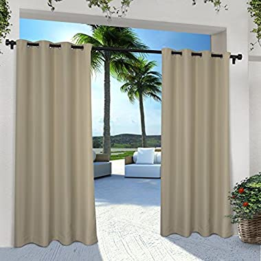 Exclusive Home Indoor/Outdoor Solid Cabana Window Curtain Panel Pair with Grommet Top, Taupe, 54x108, 2 Piece