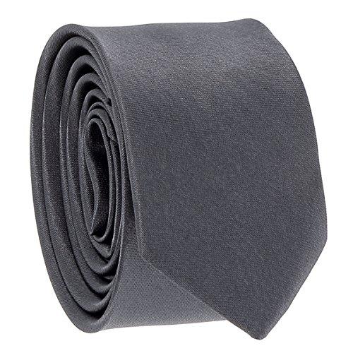 Cravate Fine Gris anthracite - Cravate Homme Coupe Slim Moderne - 5cm à la Pointe - Couleur Unie - Accessoire Chemise pour Mariage, Cérémonie