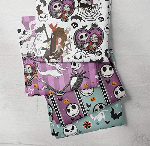 Bundle of 4 The Nightmare Before Christmas Fat Quarters Fabric, Premuim Quality KONA Cotton Fat Quarter Bundle for Sewing Craft Project